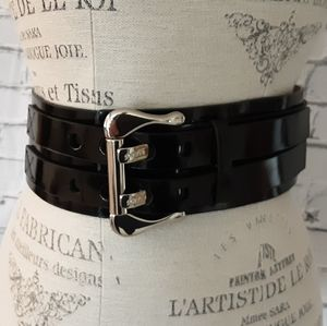 GUESS BLACK LEATHER WIDE CINCH BELT SZ S/M